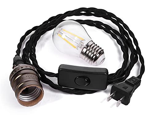 Crow Raven Lamp Light Set - E26 Aluminum Vintage-Style Plug-in Pendant Light Socket, Twisted Fabric-Covered Cord, Rocker Switch, US Wall Plug, 2W Led Soft White Light Bulb (2700K)