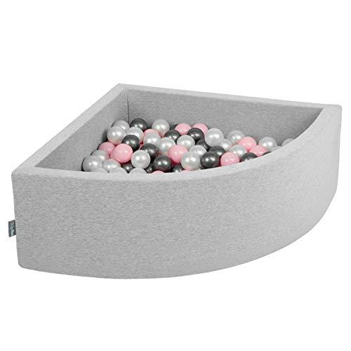 KiddyMoon 90X30cm/200 Balles Piscine À Balles ∅ 7Cm pour Bébé Quart Angulaire Fabriqué en UE, Gris Clair: Perle-Rose Poudré-Argent