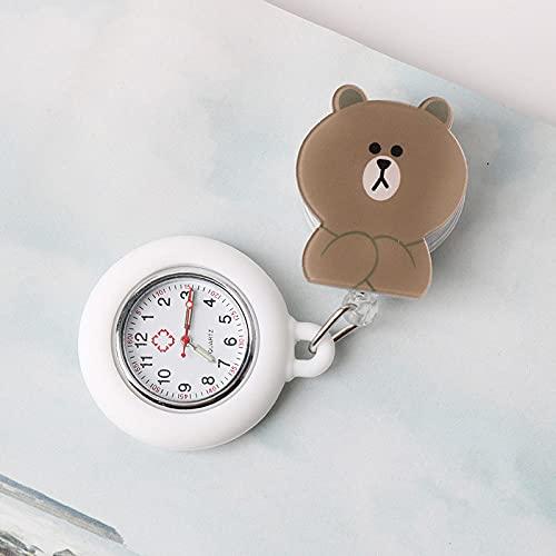 YYMY Reloj de Enfermera Médico,Puede Tirar de la Mesa Colgante telescópica de la Enfermera, Reloj de Bolsillo con luz Nocturna de Cuarzo médico, Blanco 12