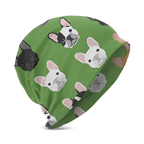 YongColer Girls Unisex Slouchy Beanie Cap(Green Frenchie Dog)