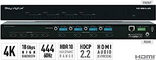 Key Digital KD-MS4x4G 4x4 4K/18G HDMI Matrix Switchers, with Independent Audio Switching, Balanced/Unbalanced Audio, Audio De-embedding of Analog L/R/PCM