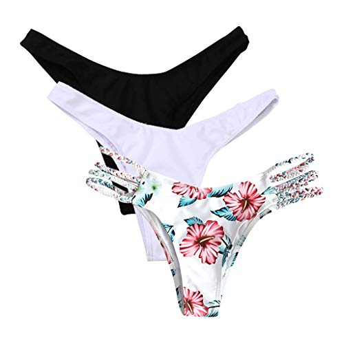 Sylar Bikini Tangas Mujer Playa Trajes de Baño Mujer Tanga Brasileño Braguitas Braga de Bikini Ropa de Baño Bikinis Bottoms, Pack de 3