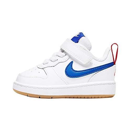 Nike Court Borough Low 2 (TDV), Scarpe da Ginnastica Bimbo 0-24, White/Pacific Blue-University Red, 22 EU