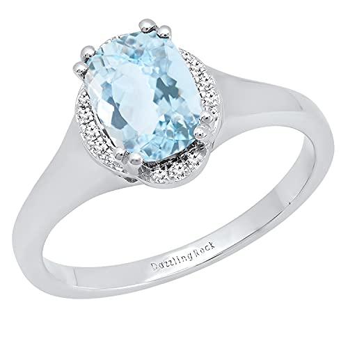 Dazzlingrock Collection Cojín de 8 x 6 mm, aguamarina y diamante blanco redondo para mujer, clásico, hermosa opción para anillo de compromiso, oro blanco de 18 quilates, talla 6.5