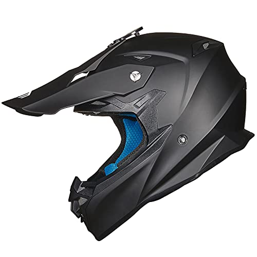ILM Adult Motocross Dirt Bike Helmet with Super Soft Liner Camera Mount for Men Women ATV Motorcycle Dual Sport DOT(Matte Black, M)
