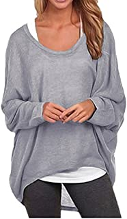 ZANZEA Women's Batwing Long Sleeve Off Shoulder Loose Oversized Baggy Tops Sweater Pullover Casual Blouse T-Shirt