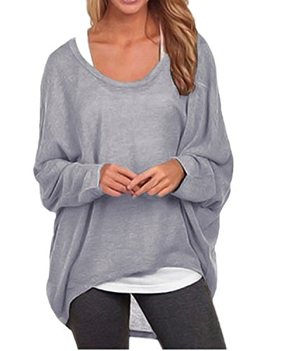 ZANZEA Women's Batwing Sleeve Off Shoulder Loose Oversized Baggy Tops Sweater Pullover Casual Blouse T-Shirt Gray US 14-16/Tag Size XXL