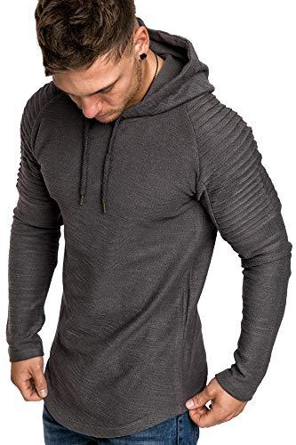 Amaci&Sons Oversize Vintage Herren Pullover Biker-Style Kapuzenpullover Hoodie Sweatshirt 4022 Iron S