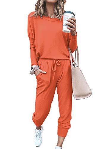 FOBEXISS Conjunto sólido de dos piezas de manga larga con cuello redondo y pantalones largos para mujer.