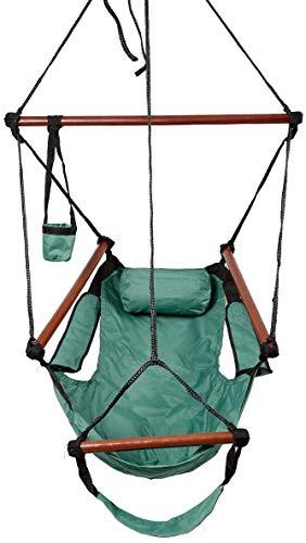 Dljyy Hängematte Air Chair Schaukel Sitz mit Kissen, Getränkehalter für Indoor/Outdoor, Hof, Garten, Baum, Terrasse, Veranda (Farbe: Grün)