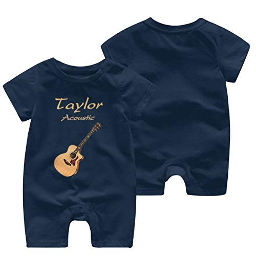 Soft Cotton Baby Girl Jumpsuit 12M Rompers for Baby Girls with Taylor Acoustic Guitars Pattern Navy
