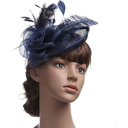 YANGLAN Damen Fascinator Hut, Blume Hanf Feder Haarspangen Derby Hut, Bankett Hut Cocktail Navy
