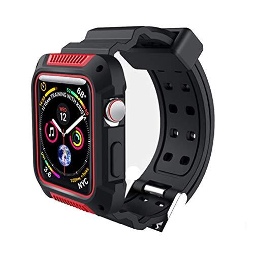 Caso + Correa Aplicar a Apple Watch Band Pulseira Apple Watch 4 3 5 Band 44mm 40mm IWatch 42mm / 38mm Cubierta Protectora de Correa (Band Color : Red, Band Width : 44mm)