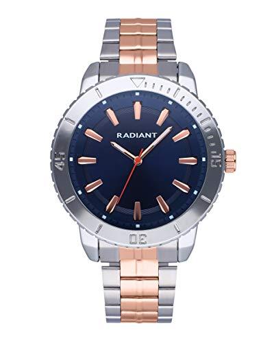 Reloj analógico para Hombre de Radiant. Colección Storm. Reloj con Brazalete Bicolor con Oro Rosa y Esfera Azul. 5ATM. 44mm. Referencia RA570204.