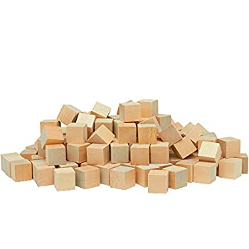 Unfinished Wood Craft Cubes 1 inch Pack of 100 Small Wooden Baby Blocks to Decorate Wooden Cubes for Crafts and Decor by Woodpeckers