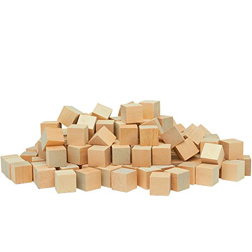 Unfinished Wooden Blocks 1, Pack of 50 Small Wood Cubes for Crafts and DIY D