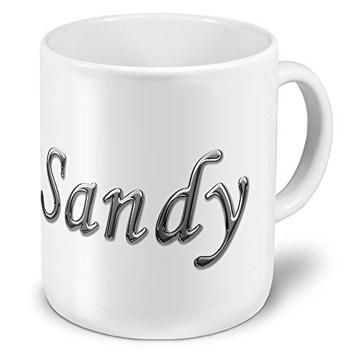 """XXL Riesen-Tasse mit Namen """"Sandy"""" - Jumbotasse mit Design Chrombuchstaben - Namens-Tasse, Kaffeebecher, Becher, Mug"""