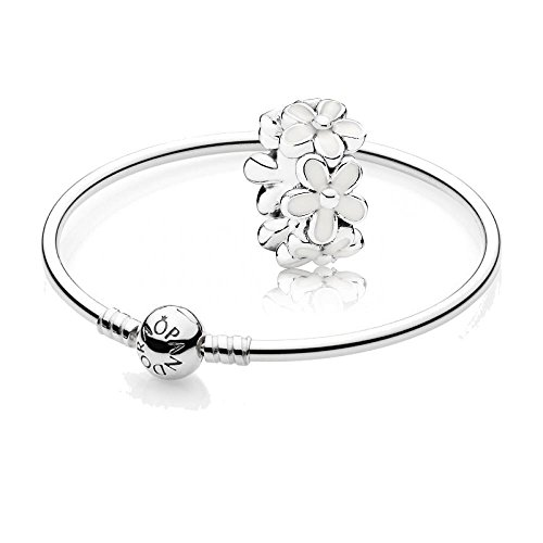 [A] Original Pandora Geschenkset - 1 Silber Armreif 590713-17 + 1 Silber Zwischenelement 791495EN12 Liebliche Gänseblümchen