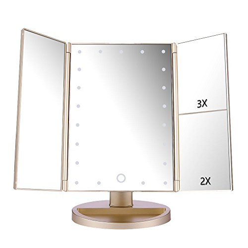 deweisn Tri-Fold Lighted Vanity Mirror with 21 LED Lights, Touch Screen and 3X/2X/1X Magnification Mirror, Two Power Supply Mode Tabletop Makeup Mirror,Travel Mirror