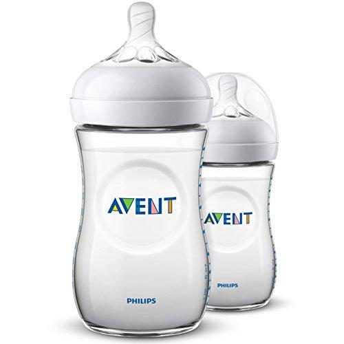 Philips AVENT Biberon Natural SCF033/27, Biberon naturale da 260 ml, Pack 2 bottiglie, Transparente