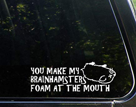 You Make My Brainhamsters Foam at The Mouth Vinyl The Cut Decal Bumper Sticker for Windows, Cars, Trucks, Laptops, etc.