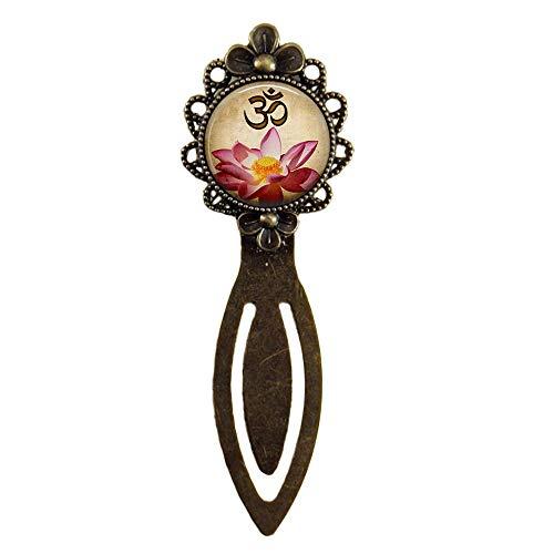 Marcadores hechos a mano, joyería de yoga, marcadores Om, flor de loto rosa, regalos para ella