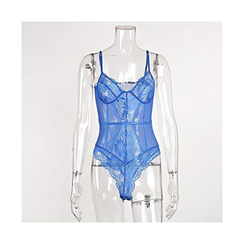 Body De Encaje Floral Mujeres Patchwork Mody Body Ladies Summer Skinny Sexy (Color : Blue, Size : L.)
