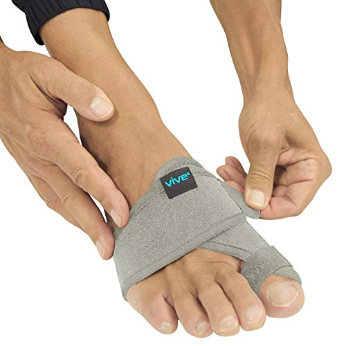Vive Bunion Brace (Pair) - Big Toe Corrector Straightener with Splint - Hallux Valgus Pad, Joint Pain Relief, Alignment Treatment - Orthopedic Sleeve Foot Wrap Support for Men and Women (Gray)