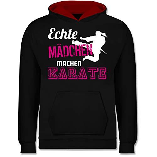 Sport Kind - Echte Mädchen Machen Karate - 116 (5/6 Jahre) - Schwarz/Rot - Pulli mädchen echte mädchen… - JH003K - Kinder Kontrast Hoodie