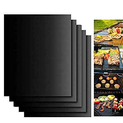 Dailyart Grill Mats Non Stick Set of 5 BBQ Grill Mat Baking Mats Teflon BBQ Accessories Grill Tools Reusable,Works on Gas, Charcoal, Electric Grill 15.75 x 13-Inch, Black