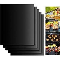 BBQ Grill Mat, Dailyart Barbecue Baking Mats Juego de 5 para carbón, parrilla de gas o eléctrica - Reutilizable, duradero, resistente al calor Hojas de barbacoa