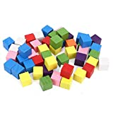Cikonielf 2 Juegos de Bloques de Madera Cuadrados, Cubos de Madera de Colores, Juguete de educación temprana para niños, para Manualidades, fabricación de Rompecabezas de matemáticas(50 Piezas 15 mm)