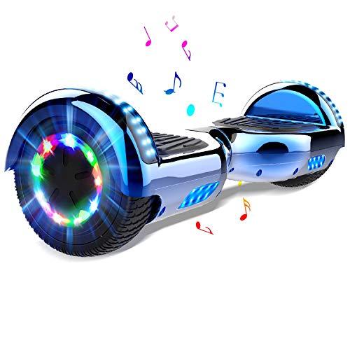 COLORWAY Hoverboard Hover Scooter Board 6.5 Pulgadas con Ruedas de LED, Patinete El¨¦ctrico con Bluetooth de Potente Motor Auto-Equilibrio (Azul)