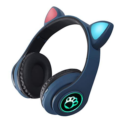 FENGCHUANG Auriculares Plegables Inalámbricos con Orejas de Gato Auriculares Bluetooth 5 0 LED Luminosos con Micrófono Adecuados para Teléfonos Portátiles
