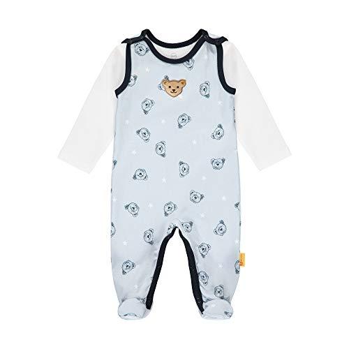 Steiff Baby-Jungen mit süßer Teddybärapplikation Set Strampler + T-Shirt Langarm, Kentucky Blue, 056