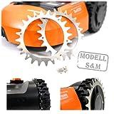 - Beos - 2 x clavos de acero inoxidable premium para modelo Worx S/M + 12 x tornillos de acero inoxidable - Mejora de tracción para robot cortacésped – Cortacésped robots tamaño de rueda 205 mm