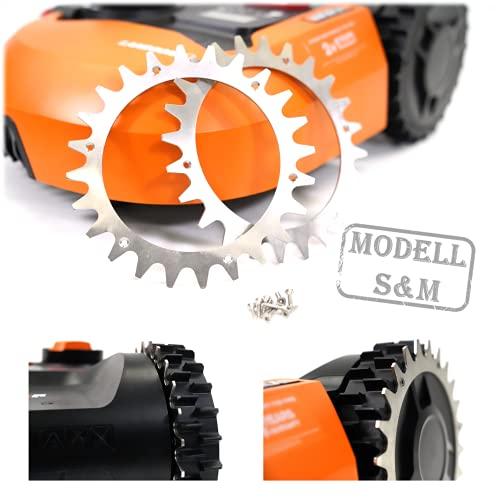 BEOS® PREMIUM EDELSTAHL Spikes für Modell Worx S/M -Poliert -Gesenkte Schraubenlöcher-Entgratet- 12x Edelstahl Schrauben- Traktionsverbesserung für Mähroboter – Rasenmäher Roboter Radgröße 205 mm