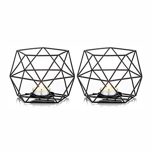 OMKMNOE 2Pc Tealight Holder Black Candle Holder, Metal Geometric Tealight Candlestick Pillar Candle Holder Centerpieces Christmas Wedding for Home Decor Ceremony And Anniversary,Black