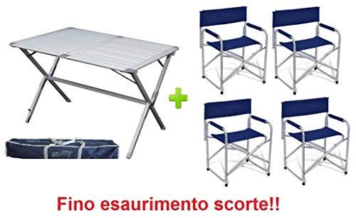 Klaptafel Argo 110 x 70 x 72 cm van aluminium met tafelblad – oplaadbaar – ideaal voor veranda camper en camping, inclusief draagtas en 4 kussens.