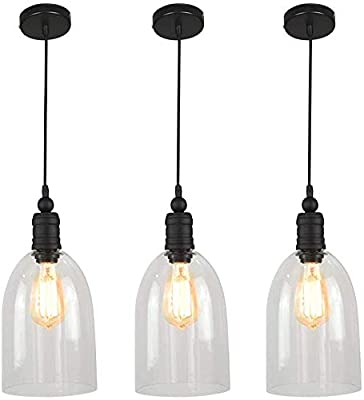 WINSOON Big Bell 3 Pack Glass Pendant Light, Industrial Ceiling Lighting for Kitchen Island