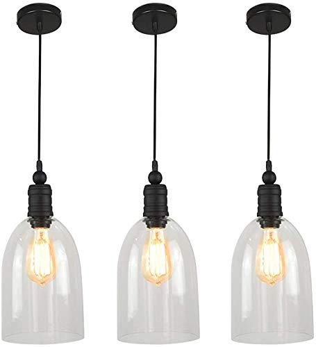 WINSOON Big Bell 3 Pack Glass Pendant Light, Industrial...