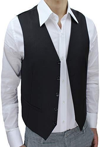 Panciotto Gilet uomo Slim Fit nero Cardigan casual Smanicato corpetto (XXL)
