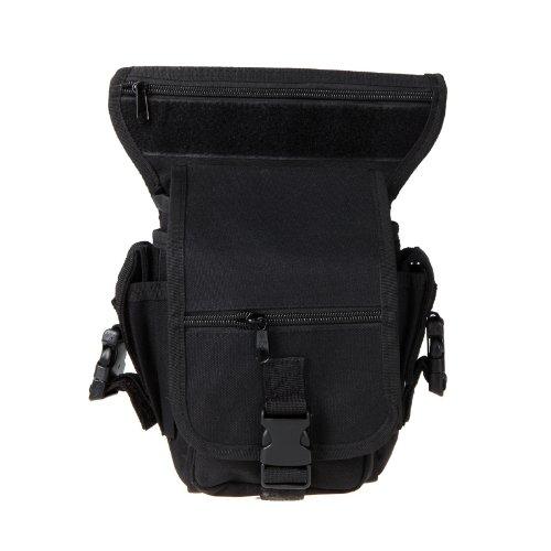 douself Piedino di goccia motociclo borsa Outdoor bici ciclismo Coscia di vita del pacchetto della cinghia tattico del sacchetto multiuso (nero)