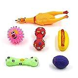 Juguetes para Perros, 6PC Cuerda de Juguete para Perros Juguete de Goma para Perros Pollo Gritando Amarillo (PACK4)