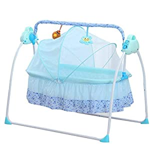 Cuna eléctrica para bebés Columpio de la Cuna 0-2 Edades Edad Baby Cuna mecedora plegable (Azul)