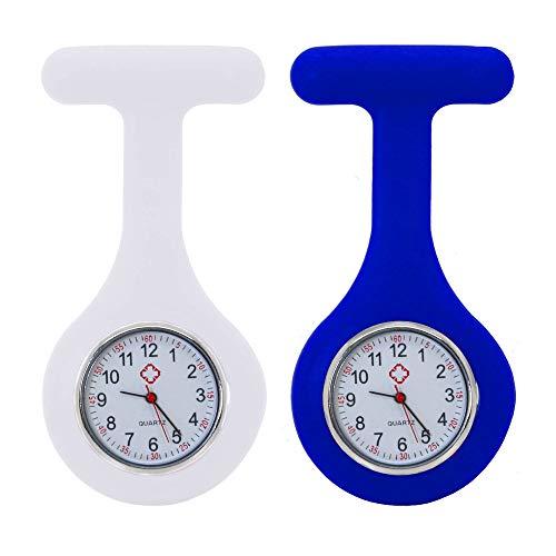tumundo Schwestern-Uhr Puls Anstecknadel 2er Set Kittel Brosche Silikon-Hülle Quarz Damen-Schmuck Krankenschwester Pfleger-Uhr, Farbe:weiß + dunkelblau
