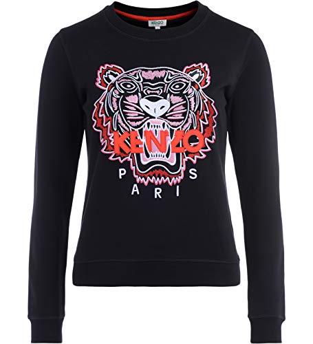 Kenzo Tröja tiger svart med flerfärgad broderi fram och röd logotyp, svart, M