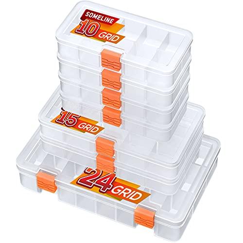 SOMELINE Werkzeugbox Sortierboxen Schmuckkasten mit Anpassbaren Fächern für Ohrringe Schmuck Schrauben Kleinteile Tragbare Sortimentskasten Plastik Sortimentsbox 7 Stück...