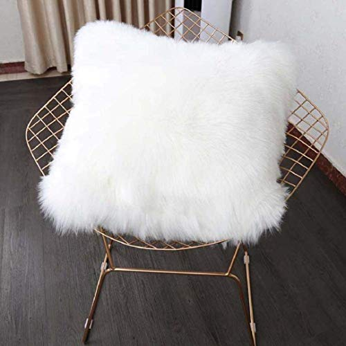 KAIHONG Faux Fur Throw Pillow Cover Fluffy Soft Decorative Square Pillow covers Plush Pillow Case Faux Fur Cushion Covers For Livingroom Sofa Bedroom etc. (White, 45X45CM)