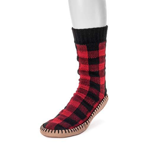 Muk Luks Men's Slipper Socks, Buffalo Check, Large/X-Large (11-13)